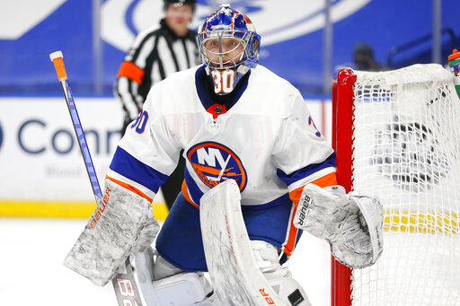 Sorokin stops 20 shots for 1st NHL win; Isles beat Sabres