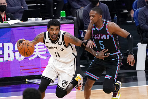Irving scores 40, Harden triple-double as Nets thump Kings