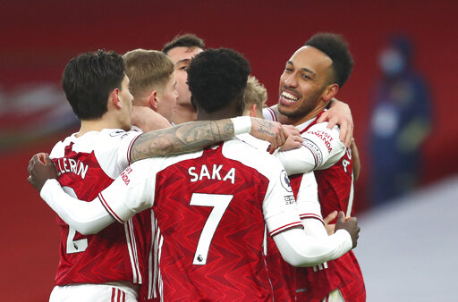 Aubameyang gets 1st EPL hat trick as Arsenal beats Leeds 4-2