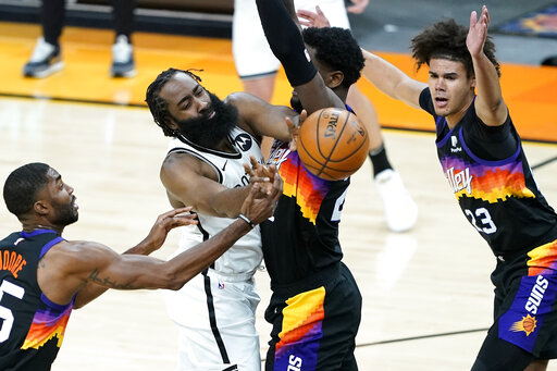 Harden scores 38, Nets rally from 24 down, stun Suns 128-124