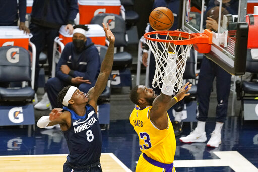 Lakers begin stretch without Davis by beating Wolves 112-104